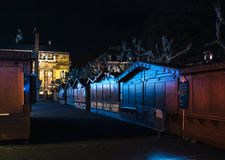 Empty closed christmas market stalls in Strasbourg after attacks. Closed Christmas Market stalls chalets after terrorist attack of Cherif Chekatt at Christmas royalty free stock photos