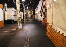 Empty closed christmas market stalls in Strasbourg after attacks. Closed Christmas Market stalls chalets after terrorist attack of Cherif Chekatt at Christmas stock photography