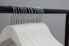 Empty cloth hangers. Close-up of empty cloth hangers Royalty Free Stock Photography