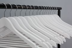 Empty cloth hangers. Close-up of empty cloth hangers Stock Photo