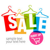 Empty clothes hangers with tag. Inscriptions Clearance sale and Hurry up. royalty free illustration