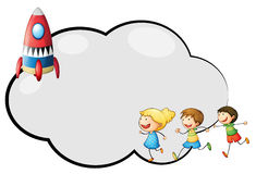 An empty cloud template with kids and a rocket Royalty Free Stock Image