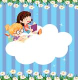 An empty cloud template with two girls reading Royalty Free Stock Images