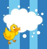 An empty cloud template with a yellow chick Royalty Free Stock Image