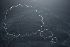 Empty clouds on a blackboard, concepts of a board for confusion, inspiration and solutions stock images