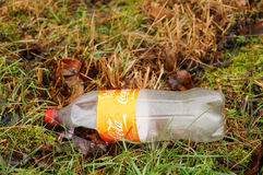 Empty Coca Cola bottle. GADKI, POLAND - DECEMBER 16, 2015: Empty bottle of Coca Cola on grass and leaves stock image