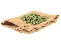 Empty coffee bag made from burlap sack. Royalty Free Stock Image