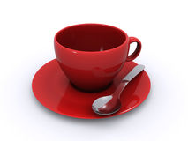 Empty coffee cup. And a spoon on a white background (3d render Stock Photo