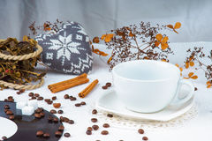Empty coffee cup among coffee beans Stock Photos