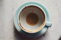 Empty coffee cup on marble background Stock Photos