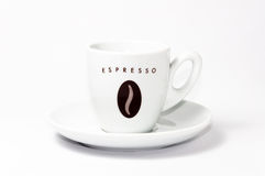 Empty coffee cup and saucer. Espresso cup and saucer on white background Stock Images
