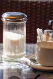 Empty coffee cup and sugar Stock Photo