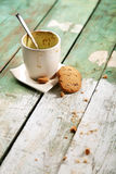 Empty coffee cup on wooden table Stock Images