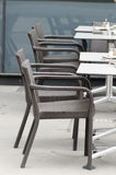 Empty coffee shop tables and seats Royalty Free Stock Photos
