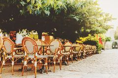 Empty coffee terrace. With tables and chairs on South of France Stock Image