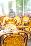 Empty coffee terrace in paris,France Royalty Free Stock Photography