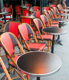 Empty coffee terrace in paris,France Royalty Free Stock Images