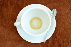Empty of coffee in white cup Royalty Free Stock Photos