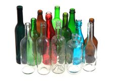 Empty color glass bottles Royalty Free Stock Photos