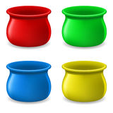 Empty color Pots. Collection of Empty color Pots. Illustration on white Stock Illustration