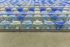 Empty color seats at Maracana football stadium Stock Photo