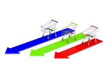 Empty color shopping carts with color arrows. 3d render Stock Images