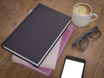 Empty colored books mockup template. High resolution. Stock Photo