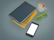 Empty colored books mockup template. High resolution. Royalty Free Stock Photo