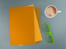 Empty colored books mockup template. High resolution. Stock Photography