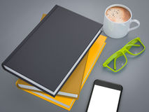 Empty colored books mockup template. High resolution. Royalty Free Stock Photos