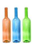 Empty colored wine bottles Stock Photography