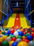 Empty colorful ball pit view royalty free stock photography