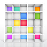 Empty colorful bookshelf Stock Image