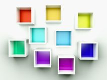 Empty colorful bookshelf. 3d composition Royalty Free Stock Photography