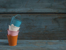 Empty colorful buckets Royalty Free Stock Photography