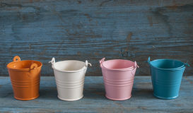 Empty colorful buckets Stock Photography