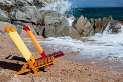 Empty colorful chairs at the beach Royalty Free Stock Photo