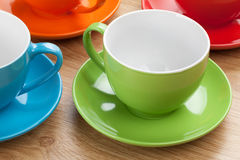 Empty colorful coffee cups Stock Photography