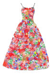 Empty colorful dress. Empty dress made of colorful flowers Stock Photo