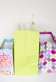 Empty colorful gift bags. Some empty colorful gift bags background Stock Image