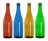 Empty colorful glass bottles Royalty Free Stock Photography