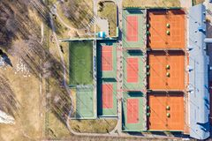 Empty colorful tennis courts for recreation and training. aerial top view royalty free stock photography