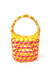 Empty Colorful Wicker Basket (hand made) Stock Images