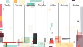 Empty colorfull weekly planner. With abstract geometric background Royalty Free Stock Photo