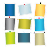 Empty Colourful Attached Photos Collection. Empty colourful attached photos collection on white. Vector poster of yellow, green, blue, grey and beige pictures Royalty Free Stock Photography