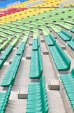 Empty colourful spectator chairs Royalty Free Stock Image