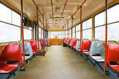 Empty colourful tram. royalty free stock image