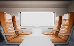 Empty Comfortable Modern Orange Color Leather Armchairs Inside Business Class Cabin Fast Speed Train.White Window. Generic Design Interior Background.Blank Royalty Free Stock Image