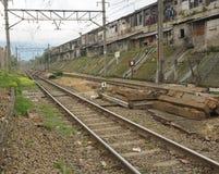 Empty commuter line railway photo taken in Bogor Indonesia Royalty Free Stock Photo