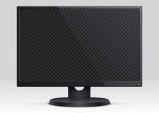 Empty computer lcd monitor with transparency screen 3d vector mockup. Screen display lcd, electronic digital plasma illustration Royalty Free Stock Images